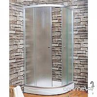 Душевые кабины, двери и шторки для ванн Keramac Полукруглая душевая кабина 100х100 Keramac 8120 профиль белый, стекло fabric