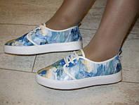 Т546 - Слипоны женские на шнурках цветные голубые