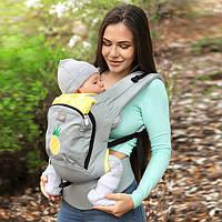 Рюкзак переноска sling Эрго Лав & Кері Air Aнанас світло-сірий з капюшоном Бавовна 100% слинг love carry