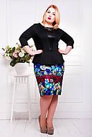 Стильное платье Елена черное (экокожа) (50-58), фото 1