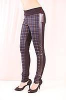 Стильные облегающие красивые лосины из турецкого трикотажа с кожаными вставками.