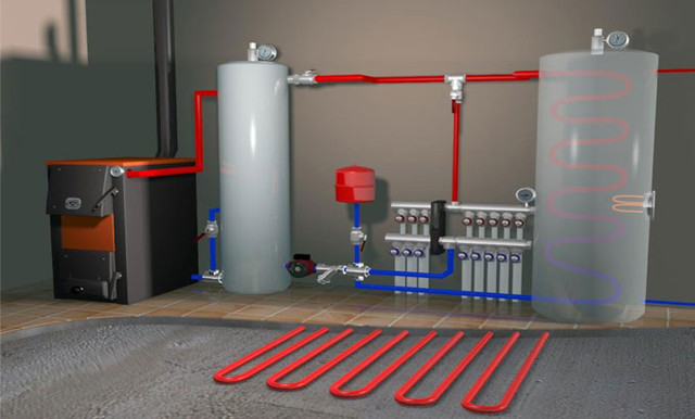 Пример установки системы отопления с аккумулирующим баком