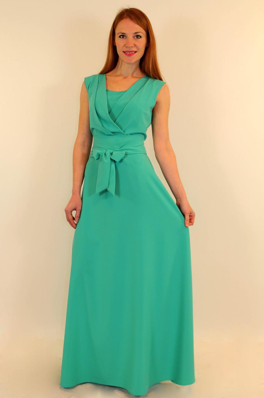 Длинное нарядное платье с запахом 44-50 р ( красный, оранжевый, бирюза )