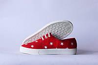 Мокасины женские красные звезды
