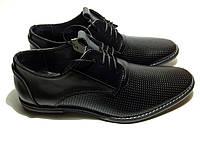 Мужские кожаные летние туфли VanKristi classic black шнурок