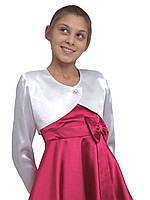 Болеро нарядное атласное для девочек  М-910  рост  128 134 140 146 152 158 и 164