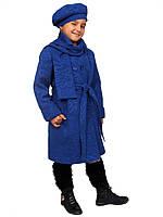 Пальто для девочки с шарфом и беретом кашемир  м-969-1 рост 116-140 , фото 1