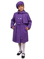 Пальто для девочки с шарфом и беретом кашемир  м-969-1 рост 116 122 128 и 134 сиреневое, фото 1