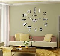 Настенные часы объемные 1.2м с цифрами и словами diy сделай сам зеркальные