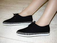 Т557 - Мокасины женские черные шнурок