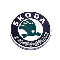 Колпачки заглушки для литых дисков  Skoda черный с серой окантовкой 56мм
