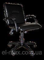 [ Кресло Samba black GTP CZ-3 Black + Подарок ] Офисное кресло для персонала винилискожа черный