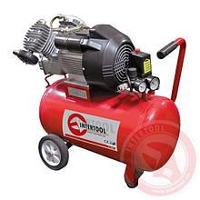 Компресор 50 л, 4 HP, 3 кВт, 220 В, 8 атм, 420 л/хв, 2 циліндр. INTERTOOL PT-0007