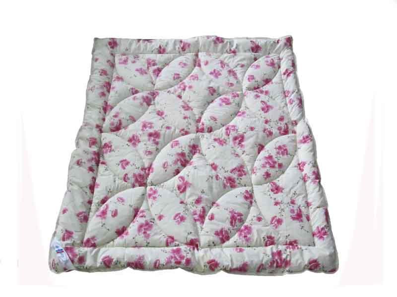 Одеяло полуторное облегченное, силиконовое Розовые цветы, бязь (140х205 см.)