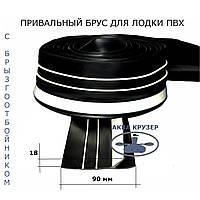 Привальный брус 90 мм с брызгоотбойником для лодки пвх - Привал бортовой черно-белый