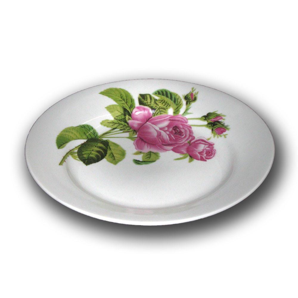 Тарелка фарфоровая 200мм. Роза Кавказа
