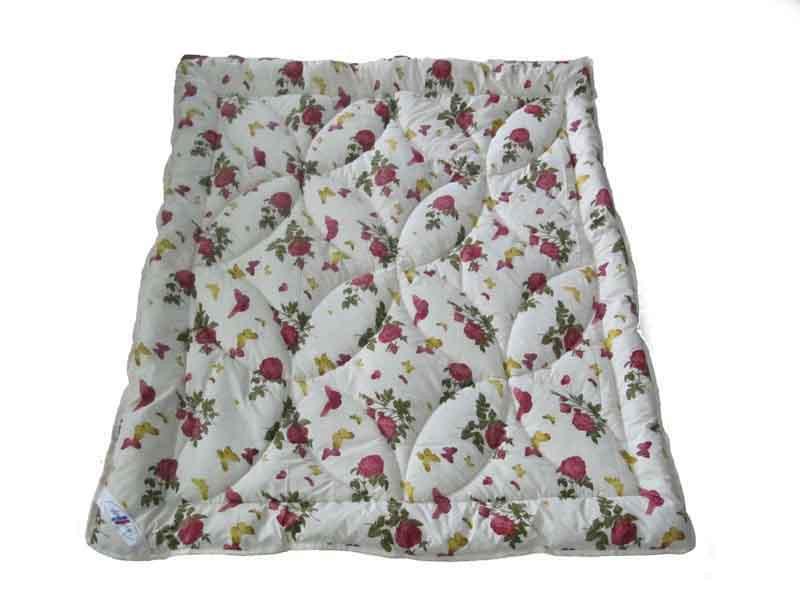 Одеяло двуспальное облегченное, силиконовое Розы-бабочки, бязь (175х215 см.)