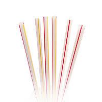 Пластиковые коктейльные трубочки: 500 шт, 210 мм, d=6,8, Фреш (разноцветные, полосатые)
