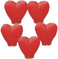Небесные фонарики в форме сердца, размер 100 х 80