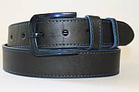 Ремень кожаный классический 40 мм чорный с синей ниткой с синими краями с синей пряжкой