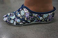 Женские цветочные мокасины из ткани (фиолетовый цвет)