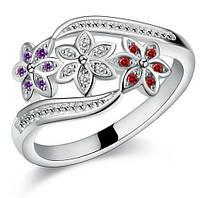 Кольцо покрытие серебро с кристаллами р 17,18 код 989