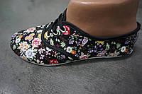 Женские цветочные мокасины из ткани (черный цвет)