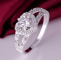 Кольцо покрытие серебро с цирконами Нежное сердце р 16 код 990