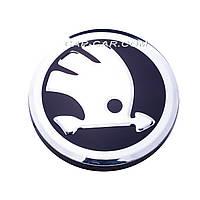 Ковпачки заглушки для литих дисків Skoda нового зразка чорний схромом 56мм