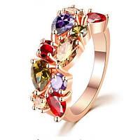 Кольцо позолоченное с цветными цирконами р 16 17 18 код 994