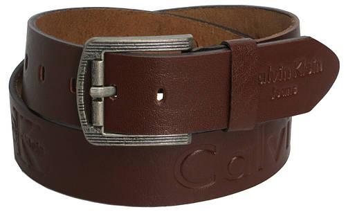 Мужской кожаный джинсовый ремень Skipper 3680 Calvin Klein Jeans коричневый ДхШ: 140х4,5 см.