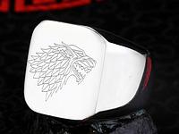 Мужское кольцо сталь 316L Игра престолов Волк Старки