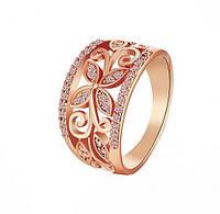Позолоченное кольцо с цирконами р 18 код 995