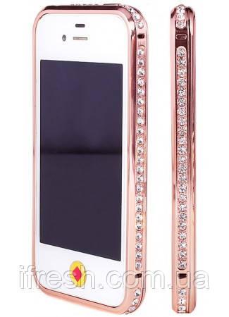 Бампер с камнями SWAROVSKI для iPhone 4/4s, rose gold