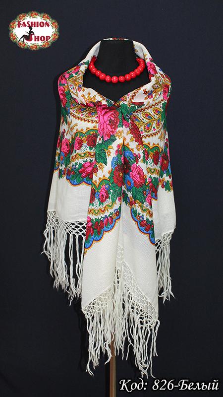 Настоящий белый платок шерстяной с люрексом