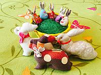 Набор Пасхальный кролики зайчики большие 3 шт + детки 5 шт