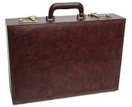 Мужской дипломат-кейс из эко кожи 4U Cavaldi коричневый. Уценка