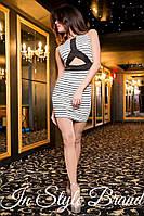 Стильное трикотажное платье в полоску, короткий рукав. Арт-5442/56