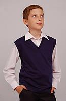 Жилет для мальчика трикотажный  М-966  рост 122-152черный, синий, серый