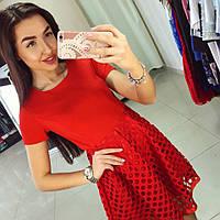 Красивое нарядное платье с расклешенной юбкой из перфорированной ткани