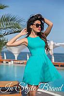 Молодёжное бирюзовое платье юбка клёш, короткий рукав. Арт-5445/56