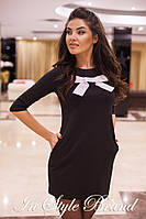 Чёрное трикотажное платье с карманами и белым бантом. Арт-5446/56