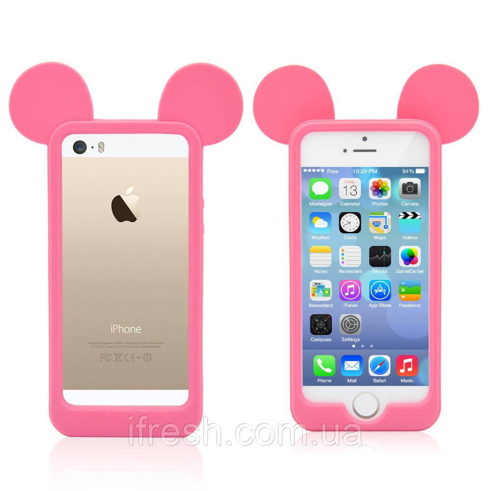 Бампер Ушки Микки для iPhone 5/5s, розовый