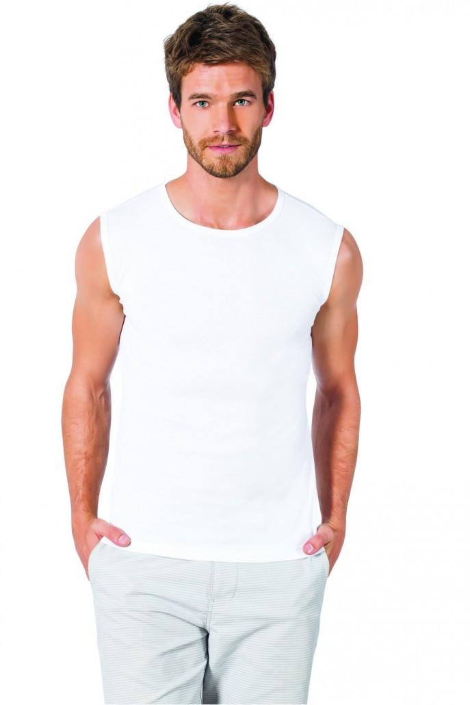 Мужская футболка без рукавов белая Турция