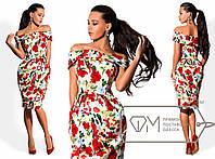 """Модное женское платье """"Цветы"""" оголенные плечи"""