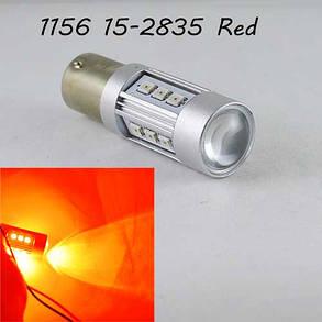 Светодиодная автомобильная лампа SLP LED с цоколем 1156(P21W)(BA15S) 15-2835 9-30V Красный, фото 2
