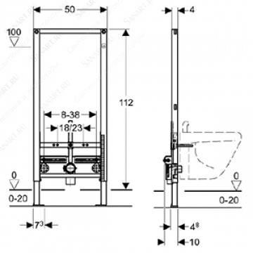 Geberit Duofix монтажный элемент для биде, высота 112 см, фото 2