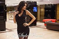 Элегантное чёрное трикотажное платье, короткий рукав. Арт-5452/56