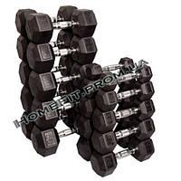 Ряд неразборных обрезиненных гантелей 5-25 кг (5 пар, шаг 5 кг), фото 1