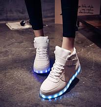 Светящиеся кроссовки белые высокие